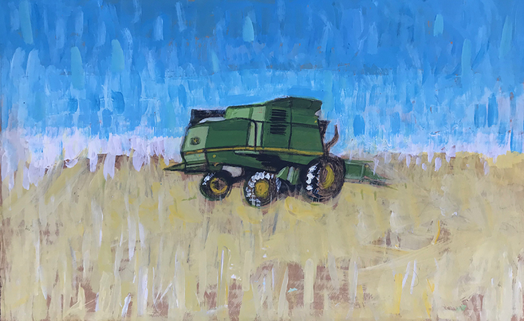 landscape art painting of combine in rural field
