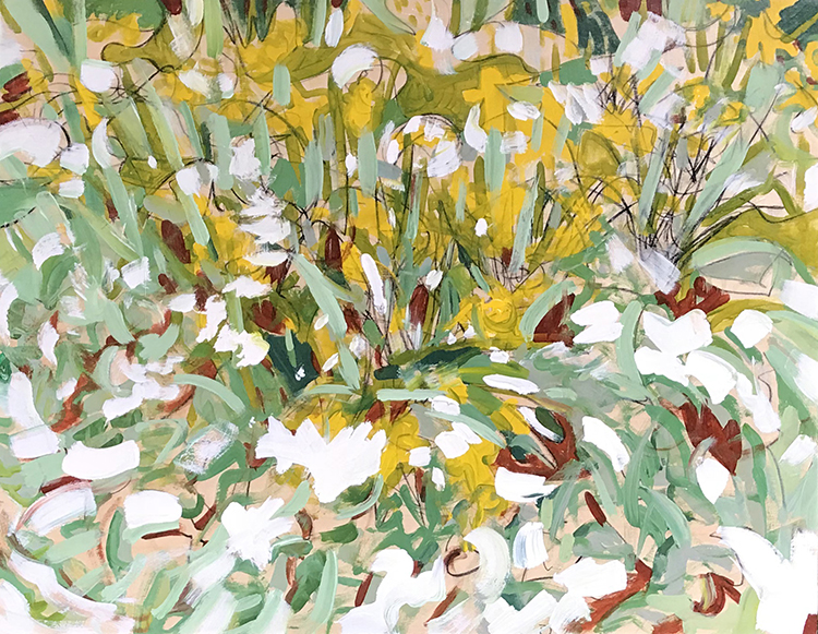a painting of snow covered daffodils in Central Park, NYC